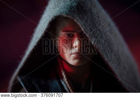 JULY 11 2020: Portrait of Jedi Anakin Skywalker turning to the Dark Side of the Force - Hasbro action figure