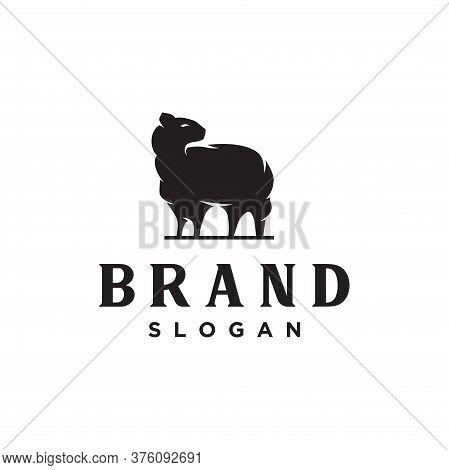 Merino Wool Logo Nature Icon. Vector Sheep Logo Wool Template. Goat Logo Angora Vintage Retro Hipste