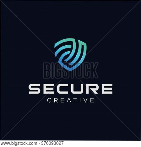 Secure Tech Logo Template. Shield Guard Tech Logo Icon Design Vector Stock. Security Tech Logo Inspi