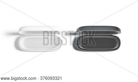 Blank Black And White Opened Glasses Case Mockup Set, Isolated, 3d Rendering. Empty Sunglasses Or Ey