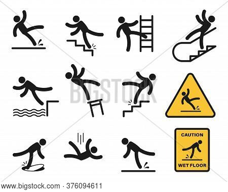 Falling People. Simple Silhouette Unbalanced People Injury Slipping On Wet Floor, Tripping. Drop Fro