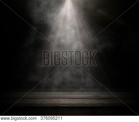 3D render of a dark wooden table looking out to a smoky room