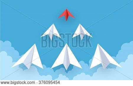 Paper Plane. Red And White Paper Airplanes Flying In Sky, Success Goal, Creative Idea And Leadership