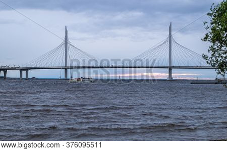 St. Petersburg, Russia - July 04, 2020. View Of The West Expressway Bridge And The Gulf Of Finland.