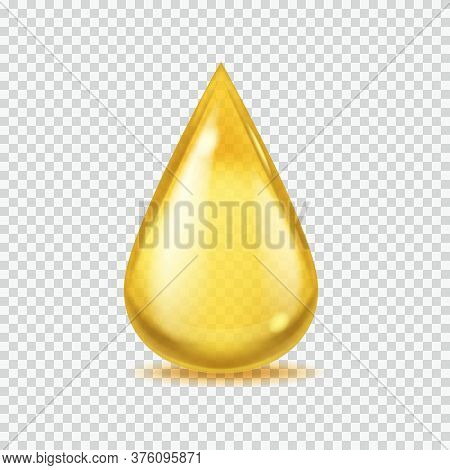 Realistic Oil Drop. Gold Vector Honey Or Petroleum Droplet, Icon Of Yellow Essential Aroma Or Olive