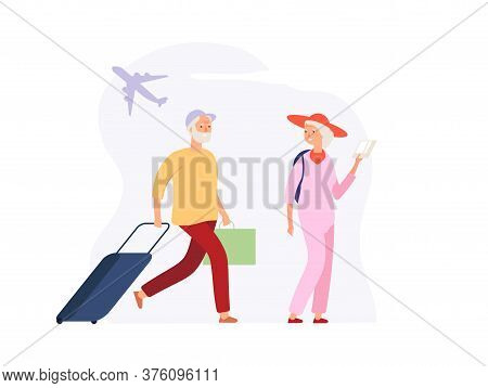 Vacation Time. Elderly Travellers With Luggage On Airport Terminal. Woman Man With Suitcases Awaitin