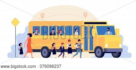 School Bus. Pupils Yellow Transport. Children Back To Learning, Road To College Or University. Girls