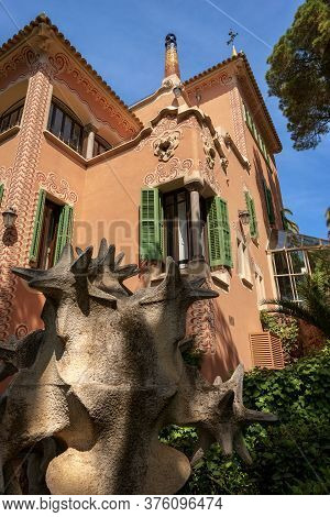 Barcelona, Spain - Jun 10, 2014: House Of Antoni Gaudi And Museum In The Park Guell (parc Guell 1900