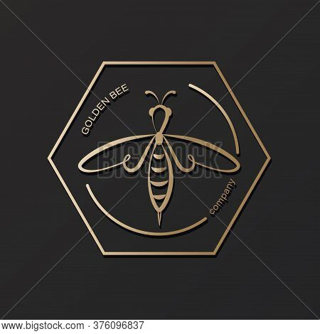 Golden Honeybee. Vector Icon, Logo. Label And Tag With Bee In Honeycomb. Design In Linear Style.