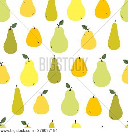 Pear. Endless Texture With Yellow, Green, Orange Pears And Leaves Isolated On White. Positive Fruit