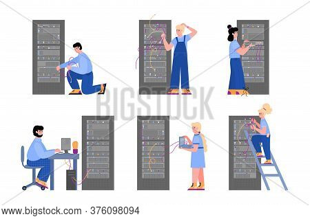 Data Center Hosting Servers Equipment And Working Staff Set Of Cartoon Vector Illustrations Isolated