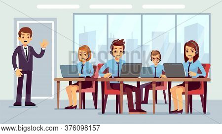 Call Center Office. Cute Hotline Managers, Businessman Or Administrator Character. Customer Service,
