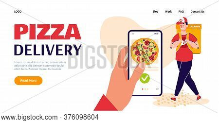 Pizza Delivery Service Website Banner. Hand With Smartphone Ordering Food Online And Courier Man Alr