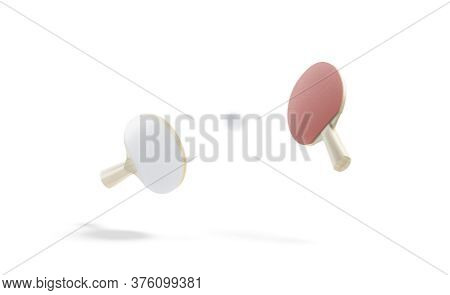 Blank Red Wood Table Tennis Racket With Ball Mockup, Isolated, Depth Of Field, 3d Rendering. Empty P
