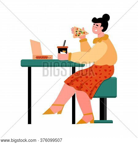 Happy Girl Eating Pizza In Cafe - Cartoon Woman With Takeout Food And Drink Sitting Behind Table And
