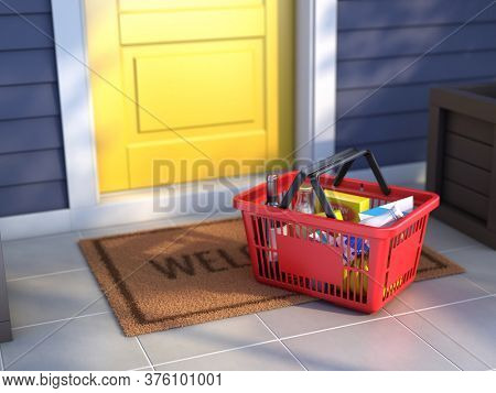 Shopping basket with fresh food near the entrance door. Online buying and delivery concept. 3d illustration