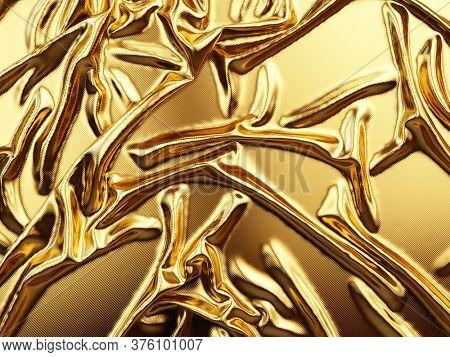 Golden fabric silk texture background - 3d rendering