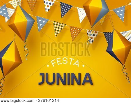 Festa Junina Holiday Banner. Bunting Flags With Paper Lanterns On Yellow Background. Festive Brazili