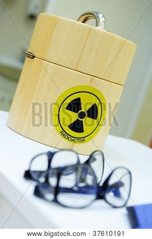 Container for the radioactive isotopes close up poster
