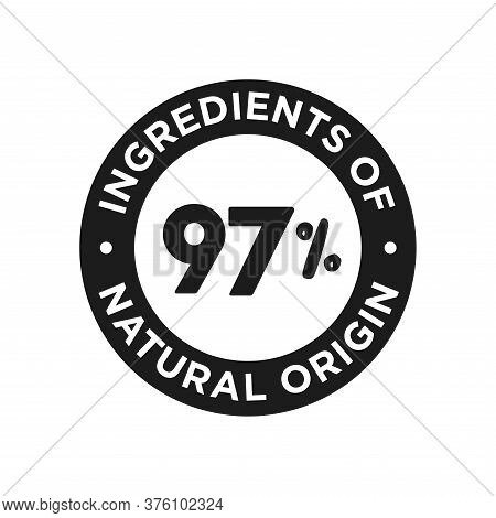 97% Ingredients Of Natural Origin Icon. Round Symbol For Food, Cosmetic And Personal Care Products7