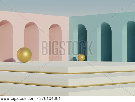3d Geometric Forms. Minimal Scene With Podium. Empty Platforms, Stage,pedestal, And Shopfront For Mo