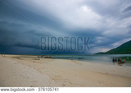 Photo Taken On A Wide-angle Lens, Huge Thunderclouds During A Hurricane In Phangan In Thailand, Incl