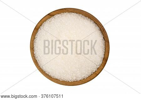 Top View Of Refined Granulated Sugar In Wooden Bowl On White Background With Clipping Path.