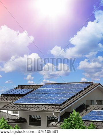 Solar Panel System On House Roof, Sunny Blue Sky Background, Renewable Green Energy Concept