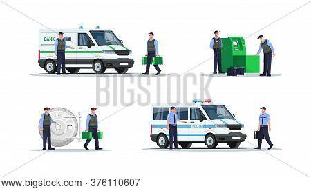 Bank Security Work Semi Flat Rgb Color Vector Illustration Set. Guards In Bulletproof Vests. Police