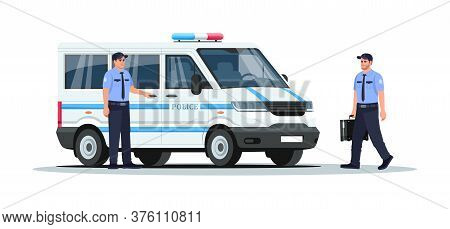 Police Truck With Guards Semi Flat Rgb Color Vector Illustration. Armored Vehicle For Enforcement. V
