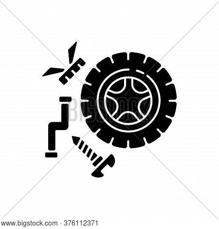 Spare Parts Black Glyph Icon. Industrial Production Process, Car Maintenance Silhouette Symbol On Wh