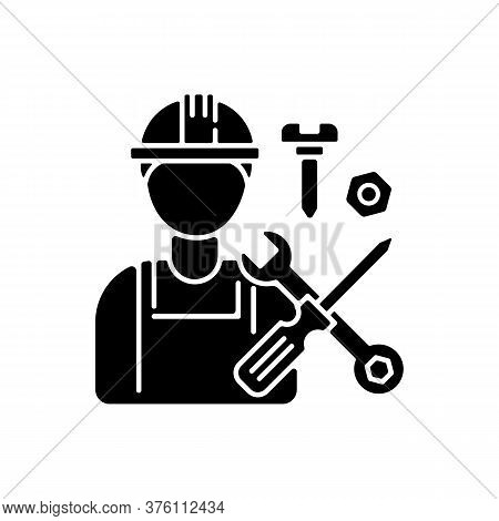 Industrial Worker Black Glyph Icon. Professional Maintenance And Installation Service Silhouette Sym