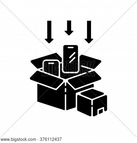 Packaging Black Glyph Icon. Post Manufacturing, Production Packing Process Silhouette Symbol On Whit