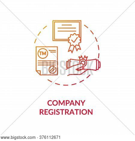 Company Registration Concept Icon. Incorporation Procedure. Company Formation Certificate. Paper Pro