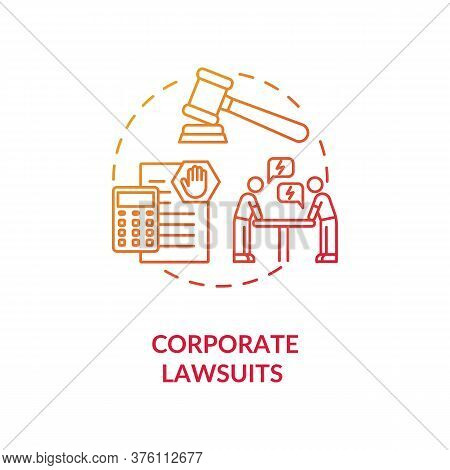 Corporate Lawsuit Concept Icon. Financial And Legal Consulting Service. Proceeding In Court Of Law I