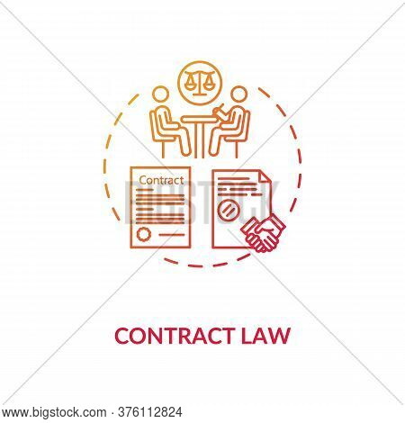 Contract Law Concept Icon. Official Paper Signing. Notary Service. Legally Enforceable Contract Idea