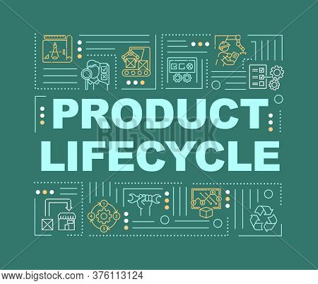 Product Life Cycle Word Concepts Banner. Development And Implementation. Infographics With Linear Ic