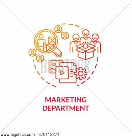 Marketing Department Red Gradient Concept Icon. Commercial Plan. Corporate Financial Data. Product M