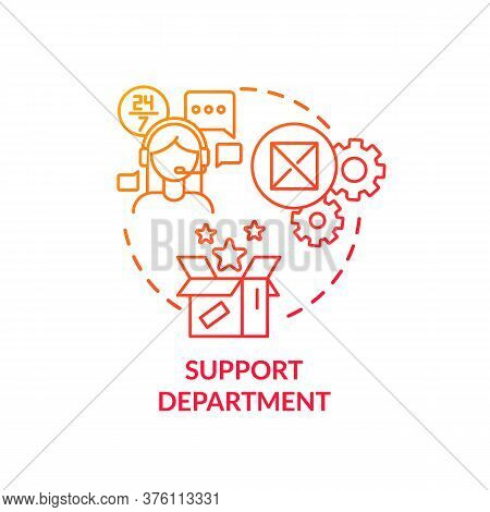 Support Department Red Gradient Concept Icon. Tech Help For Customers. Helpline For Consumers. Produ