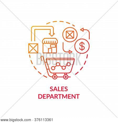 Sales Department Red Gradient Concept Icon. Marketing Plans. Commerce Research. Merchandise Sell. Pr