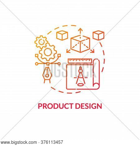 Product Design Red Gradient Concept Icon. Merchandise Modeling. Modern Technology Implementation. Pr