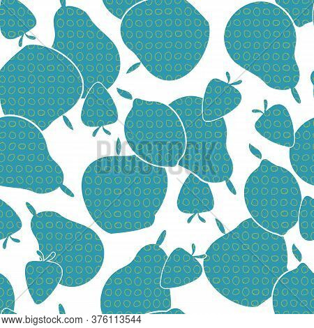 Vector Fruit Apples Pears Strawberries Lemons In Blue On White Seamless Repeat Pattern. Background F