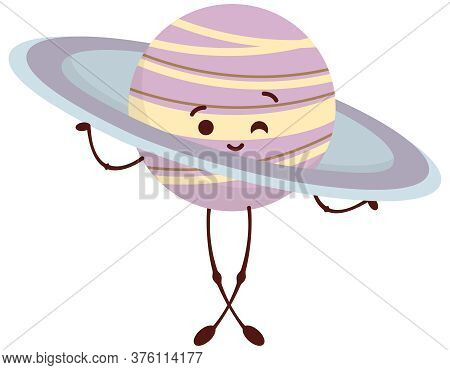 Saturn In Cartoon Style. Cute Space Character.