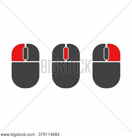 Mouse Buttons Click Isolated Vector Icons Set. Computer Mouse Buttons Indication Left Click, Scroll,