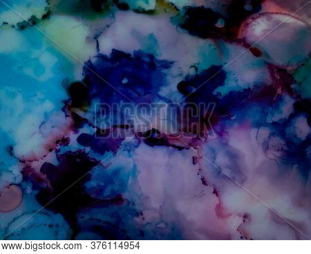 Alcohol Ink Floral Print. Ink Wash Painting. Mute Tones Sophisticated Art Image. Marble Slab Design.