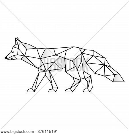 Polygonal Geometric Outline Illustration Of Fox Isolated On White. Contour For Tattoo, Logo, Emblem