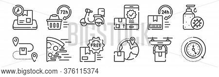 12 Set Of Linear Delivery Icons. Thin Outline Icons Such As Clock, Global Distribution, Food Deliver