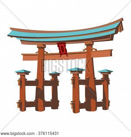 Vector Illustration Of Miyajima Monument Of Japan