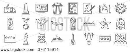 Fame Line Icons. Linear Set. Quality Vector Line Set Such As Movie, Flower Bouquet, Yacht, Vip, Hall
