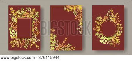 Hand Drawn Herb Twigs, Tree Branches, Leaves Floral Invitation Cards Collection. Herbal Frames Moder